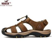 NAUSK nouveau mâle chaussures en cuir véritable hommes sandales été hommes chaussures plage sandales homme mode en plein air espadrilles décontractées taille 48