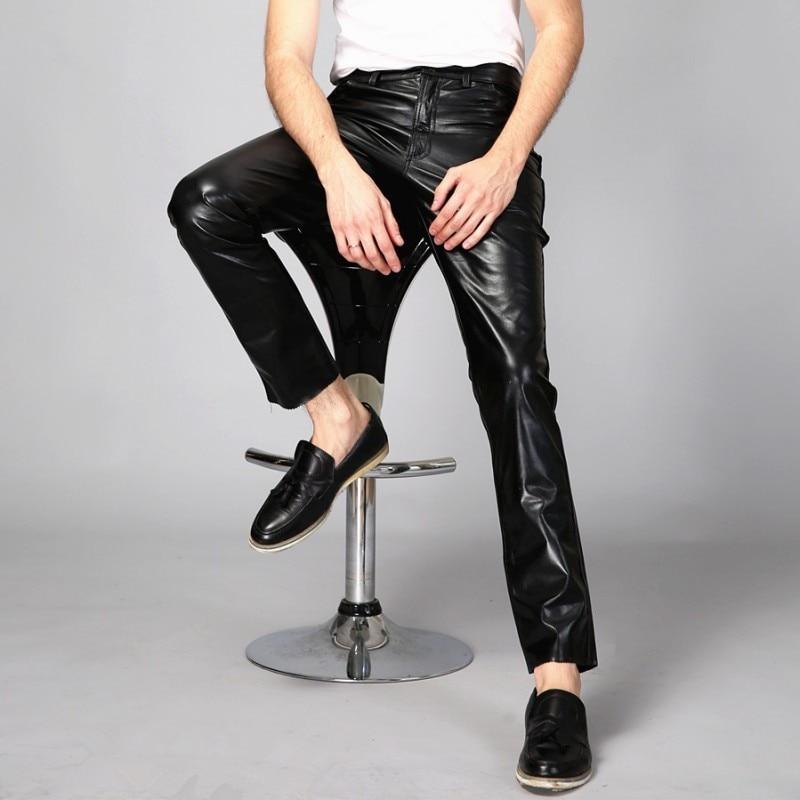 High Quality Mens Night Club Punk Trousers Casual Full Length Genuine Leather Skinny Pants Windproof Motor Biker Pantalon Homme