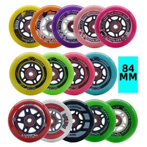 84mm 8 peças inline velocidade skate rodas verde 83a outra cor 84a pneus rolo de patinação livre para corrida patines