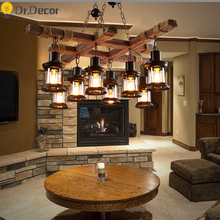Vintage Home Decor Kitchen Pendant Lights America LOFT Bar Cafe Industrial Decor Pendant Light Solid Wood Suspension Hanglamp