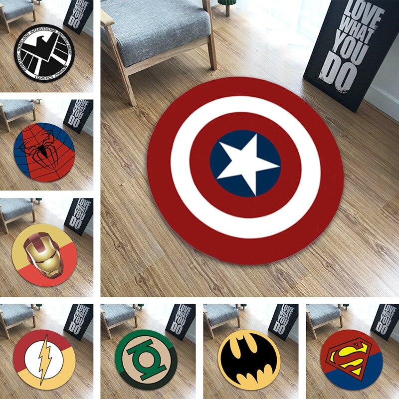 1 Uds. Alfombra de felpa redonda Marvel The Avengerser de 60cm de diámetro, Alfombra de Iron Man Capitán América Batman, regalo de Navidad de algodón para niños