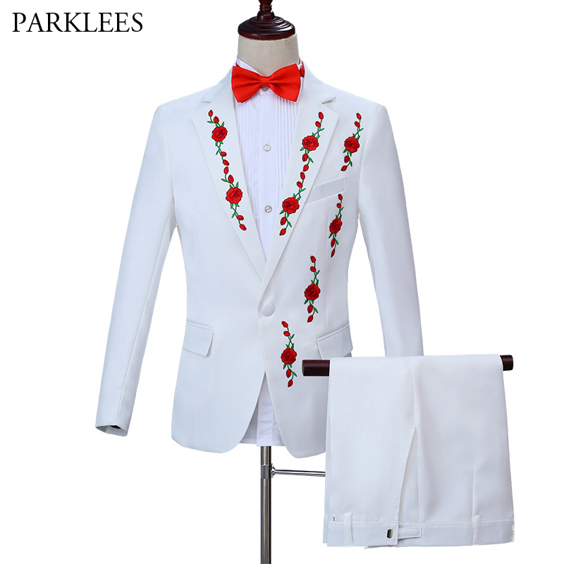 Red Rose Embroidery Men Wedding Groom Suit Set Slim Fit Blazer With Pants 2 Piece Set Elegant Tuxedo Mens Prom Stage Costume 3XL