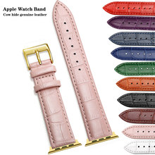 Роскошный кожаный ремешок для часов Apple Watch Band Series 5/3, спортивный браслет 42 мм 38 мм, ремешок для iwatch 6 4 SE Band