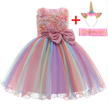 Платье для новорожденных девочек; Летние вечерние платья с единорогом для младенцев; Платье для первого дня рождения для маленьких девочек;...