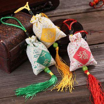 Samochód wiszący lawendowy saszetka tradycyjny chiński folk Art słowo drukowane frędzle medycyna przyprawa zapach maskotka tanie i dobre opinie CN (pochodzenie) as show Natural Grain Satin 25x5 5x8cm(9 84x2 17x3 15in)(length x width) random
