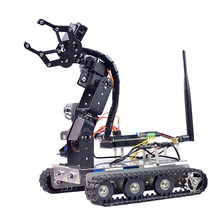 Programmable Robot DIY Wifi + Bluetooth Stainless Steel Chassis Track Tank Steam Educational Car With Arm For Raspberry Pi 3B+(China)