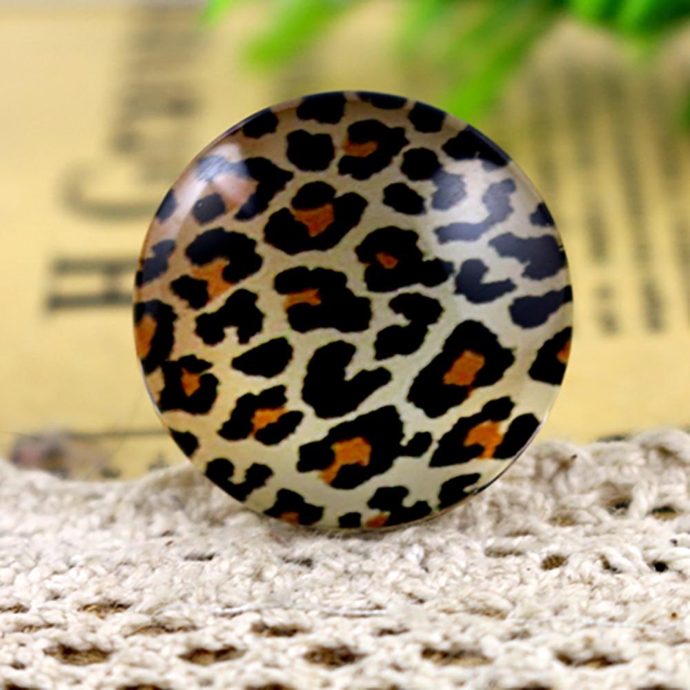 New Fashion  5pcs/Lot 25mm Handmade Photo Glass Cabochons Leopard Print