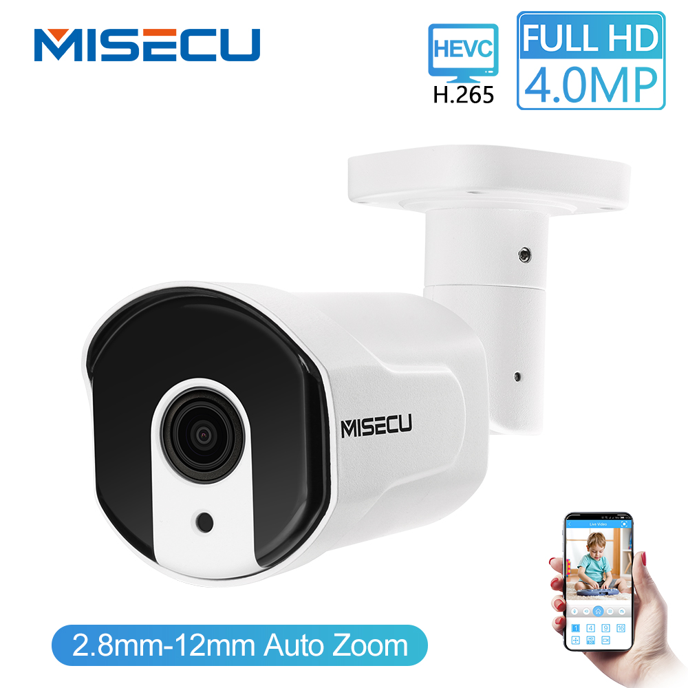 MISECU H.265/H.264 4.0MP Motorized Zoom 48V POE WDR IP Cam 2.0MP Array Night IR Motion Detect RTSP Waterproof Surveillance CCTV