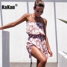 Kakan печатное эластичное сексуальное платье с воротником лето