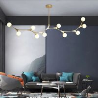 Nordic Chandelier Dining room Kitchen lustre industrial Loft chandelier Iron tube Glass Balls Chandelier Lamp Fixtures