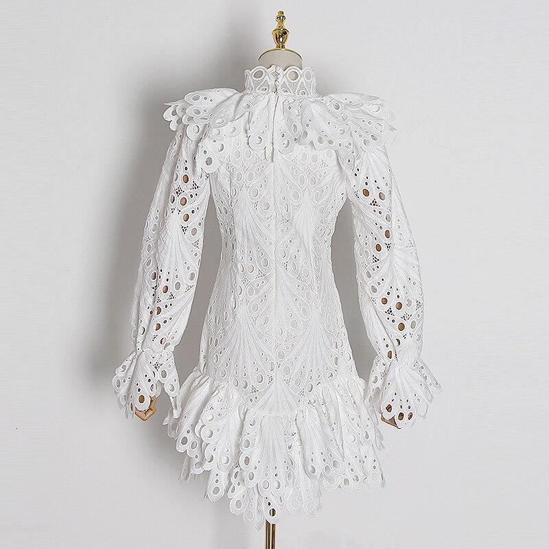 CHICEVER elegante ahueca hacia fuera el vestido para las mujeres cuello alto manga Flare vestidos de cintura alta femenino 2020 primavera nueva ropa de moda - 4