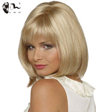XISHIXIUHAIR Short Hair Wig with Bangs Pixie Cut 12inch Light Blonde Synthetic Wigs for Women Cosplay Wigs Heat Resistant