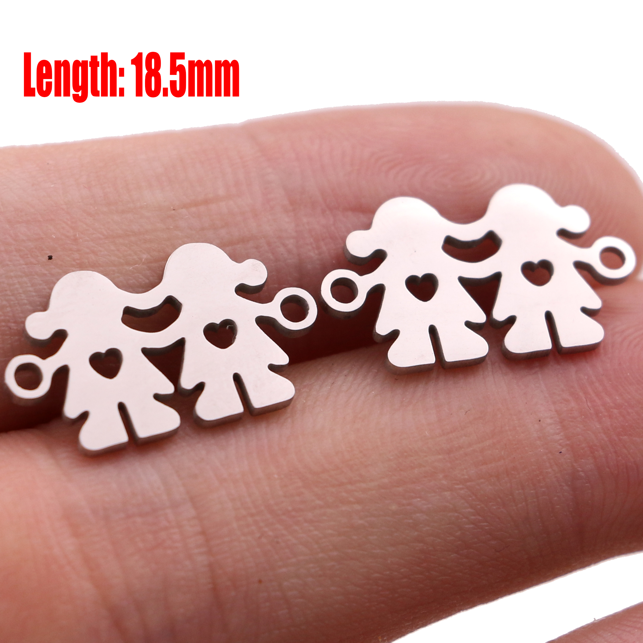 5pcs Family Chain Stainless Steel Pendant Necklace Parents and Children Necklaces Gold/steel Jewelry Gift for Mom Dad New Twice - Цвет: Steel 26