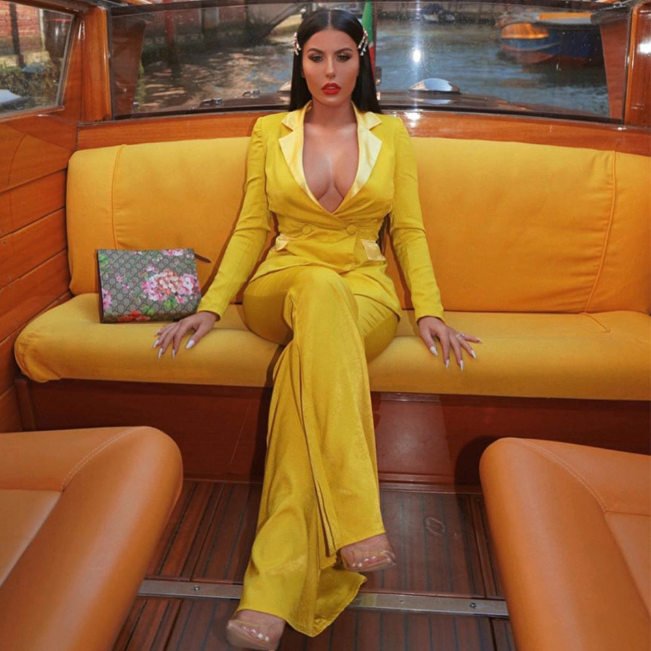 Autumn Winter Two Pieces Set Top&Pants Suit Yellow Long Sleeve  Jackets Pants Spring New V Neck Celebrity Evening Party Vestidos