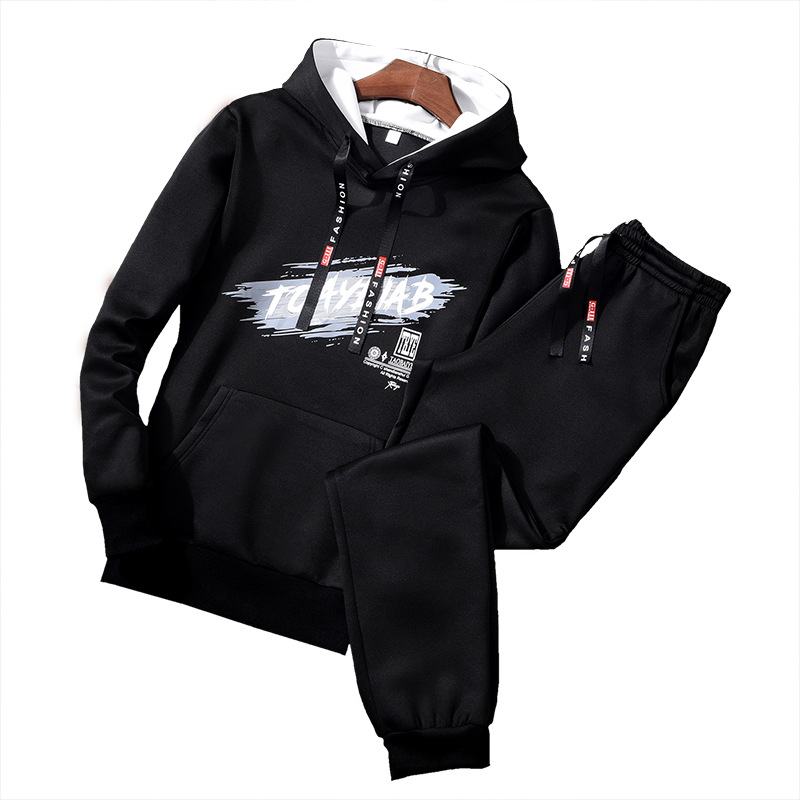 MEN'S Wear Hooded Long-sleeved Sweater Coat Both Sets Of Men Fashion & Sports Casual Set Students Hoodie Suit Men's