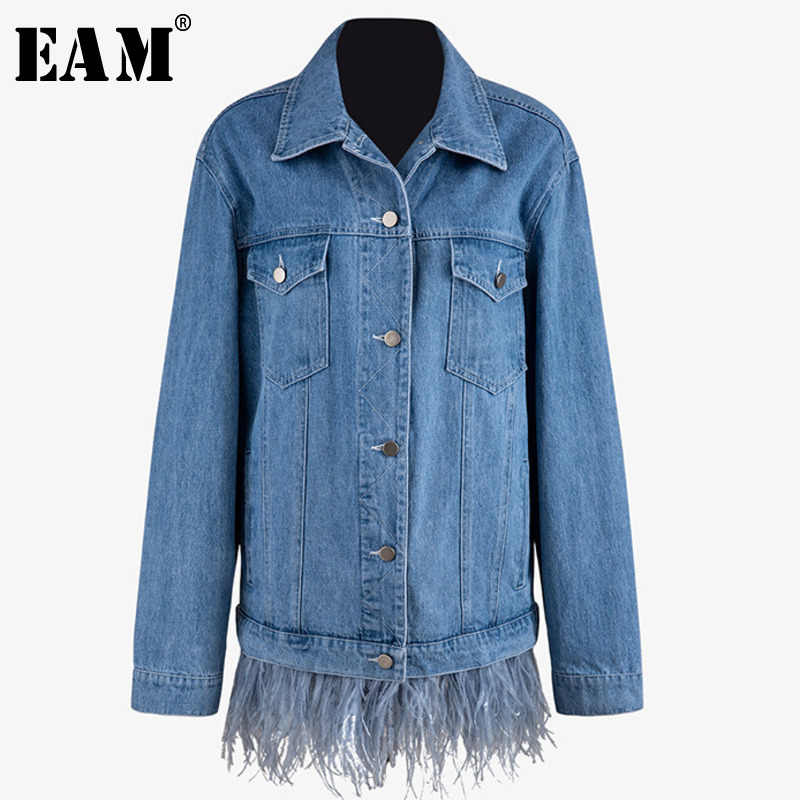 [EAM] Loose Fit Blue Denim Feather Splicsed Jacket New Lapel Long Sleeve Women Coat Fashion Tide Autumn Winter 2019 JZ513