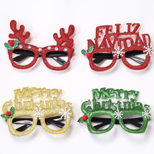 Merry Christmas Party Frame Gold Decorations Adult Children's Toy Santa Snowman Elk Antler Feliz Navidad Glasses Holiday Cosplay feliz feliz aburrimiento