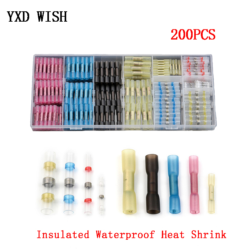 200pcs Assorted Heat Shrink Butt Splice Soldering Connecters Fullly Insulated