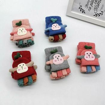 Zimowe ciepłe Fitness rękawiczki dla dzieci Cartoon Monkey dla dzieci dla niemowląt bawełniane rękawiczki na drutach nosić rękawiczkę prezent na Boże Narodzenie tanie i dobre opinie pudcoco COTTON Poliester Unisex Kid Baby Gloves 10 5 x 5 5cm