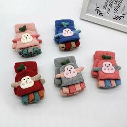 Zimowe ciepłe Fitness rękawiczki dla dzieci Cartoon Monkey dla dzieci dla niemowląt bawełniane rękawiczki na drutach nosić rękawiczkę prezent na Boże Narodzenie