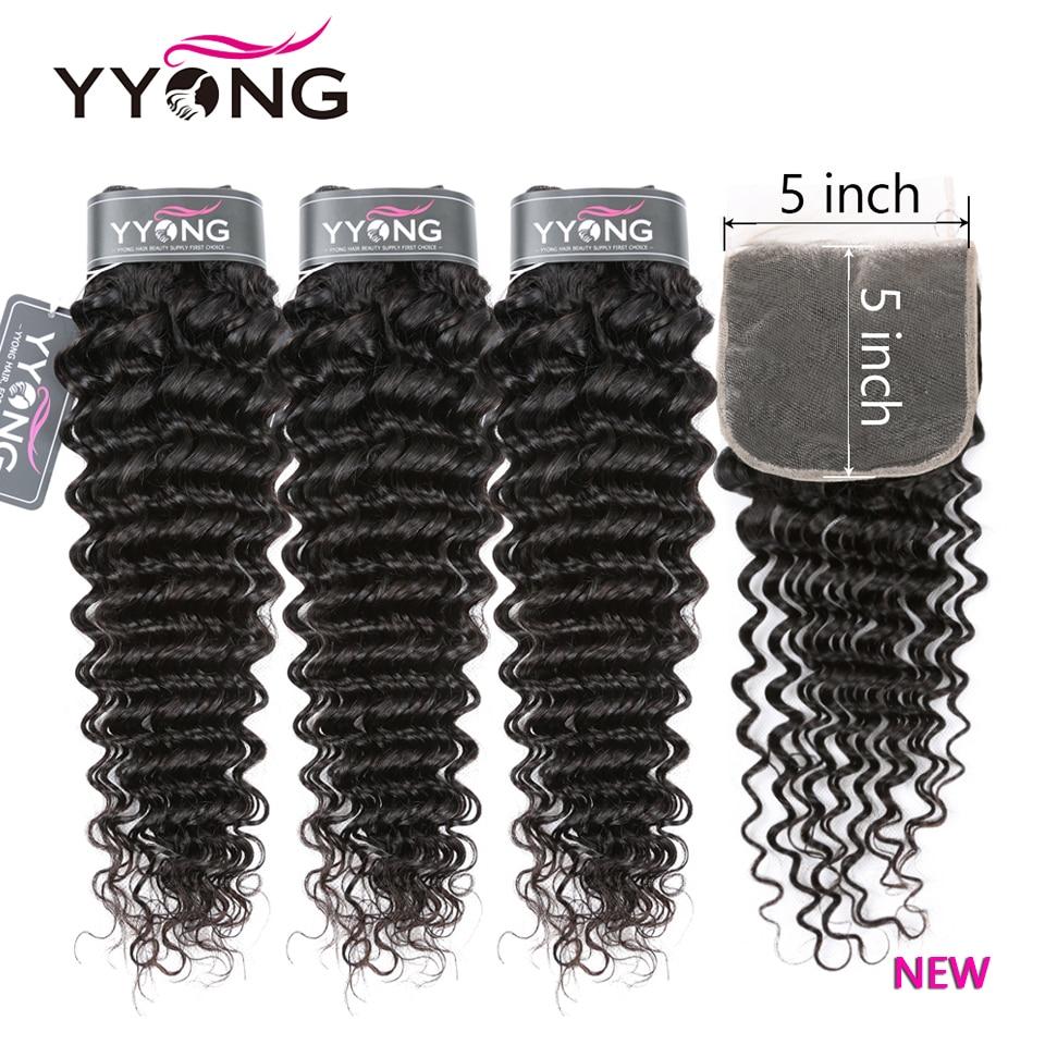 YYong New Deep Wave 5X5 Closure With Bundles Perivian  14-30inch Bundles With Closure Preplucked With Baby Hair 1