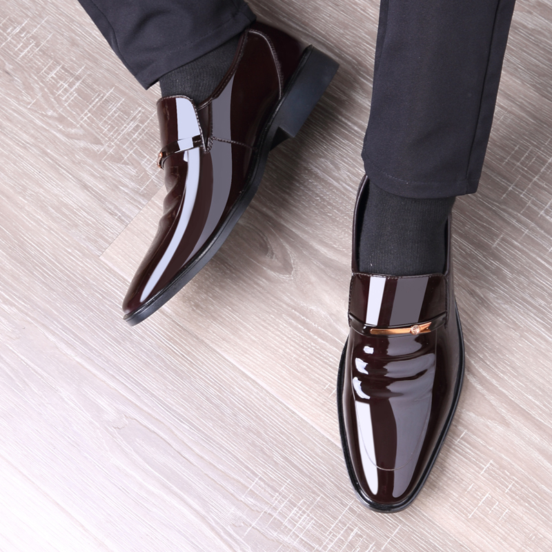 New Business Men Oxfords Shoes Set Of Feet Black Brown Male Office Wedding Pointed Men's Leather Shoes