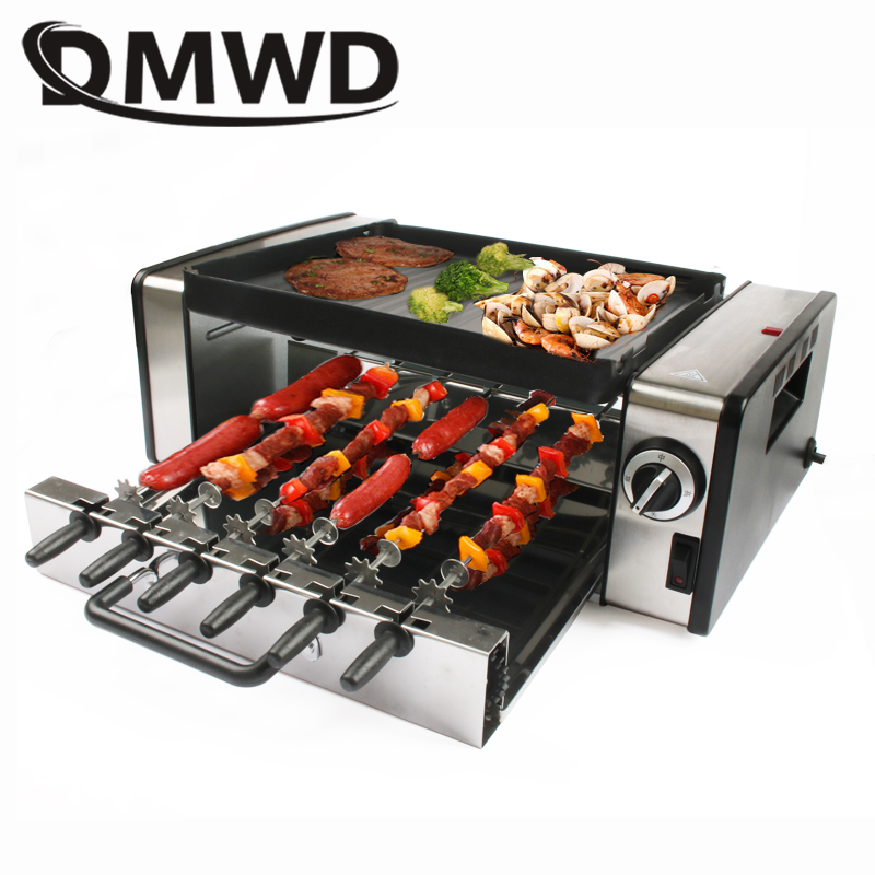 Automatic Smokeless BBQ Electric Kebab Rotary Grill Stove Rotisserie Teppanyaki Barbecue Non-stick Frying Pan Skewer Griddle EU