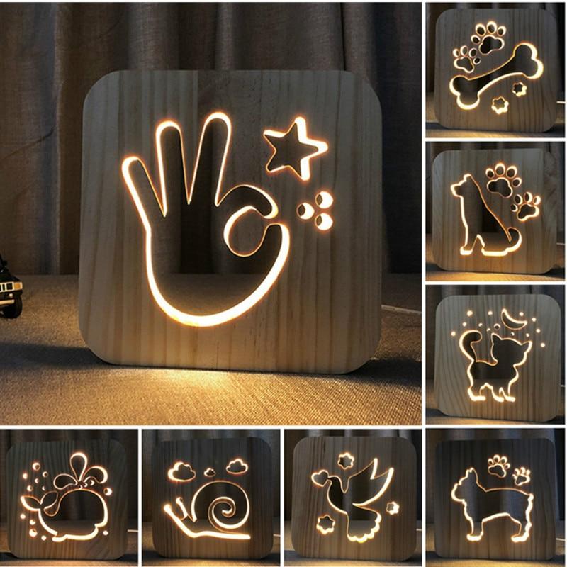 Firya LED USB Night Light Wooden Dog Paw Cat Wolf Head Animal Lamp Novelty Kids Bedroom 3D Decoration Table Lamp Children Gif