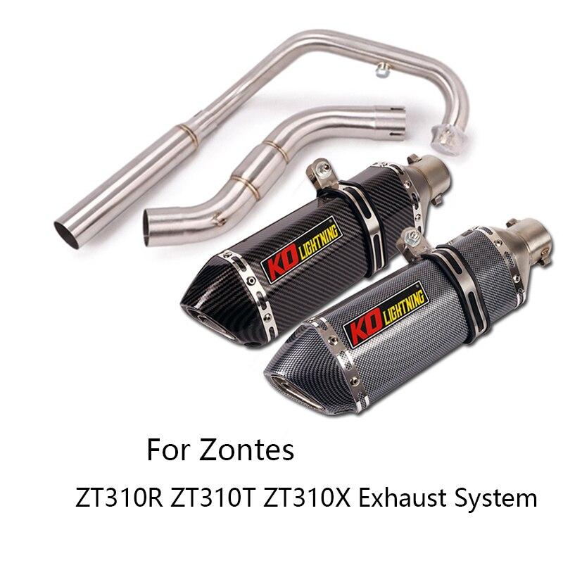 Sistema completo para Zontes ZT310R ZT310T ZT310X, tubo de conexión medio, silenciador de 51mm, Escape extraíble DB Killer