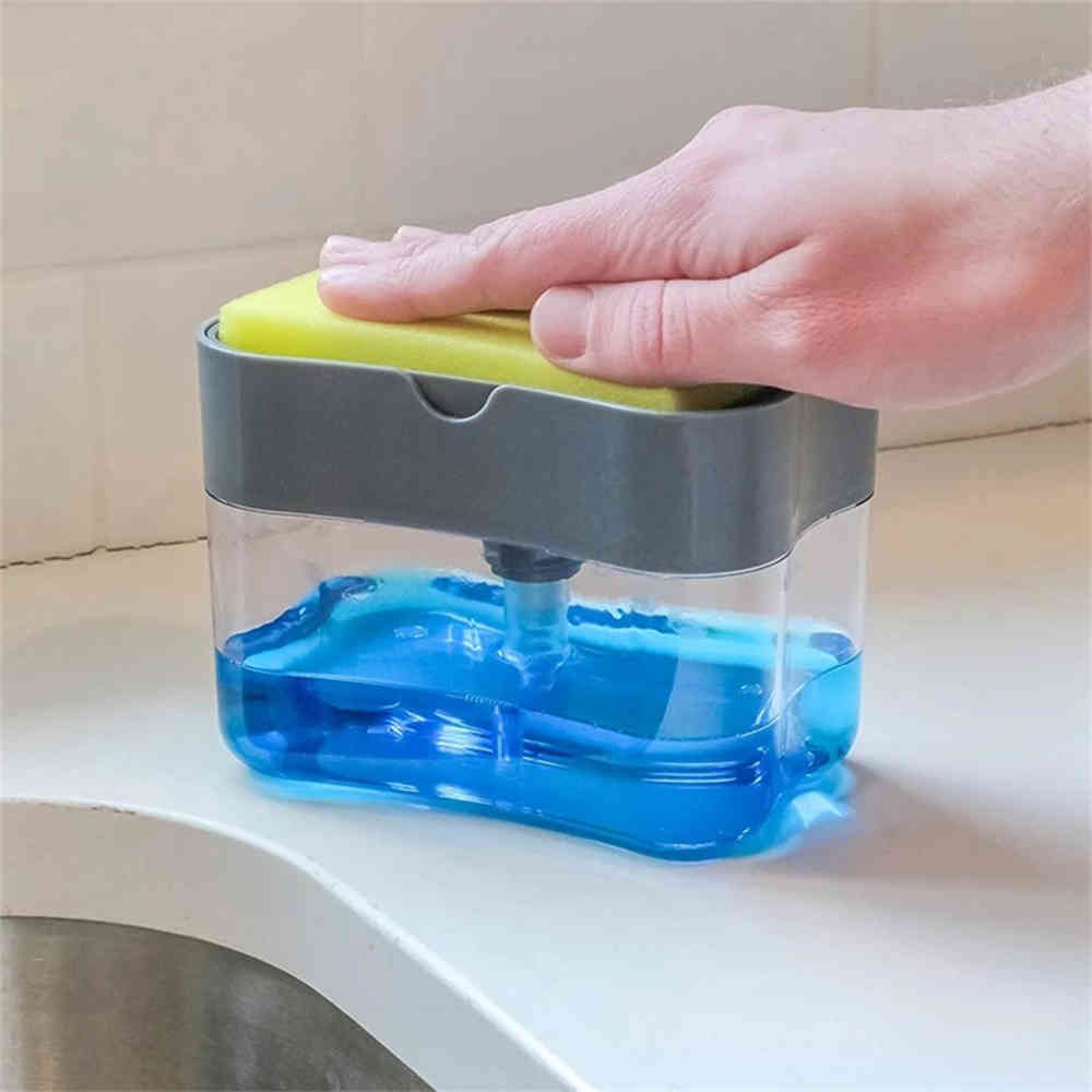 2-in-1 Soap Dispenser Sponge Caddy Non-toxic Odorless Dispenser Kitchen Rack Creative Bathroom Washing Soap Storage Box J50