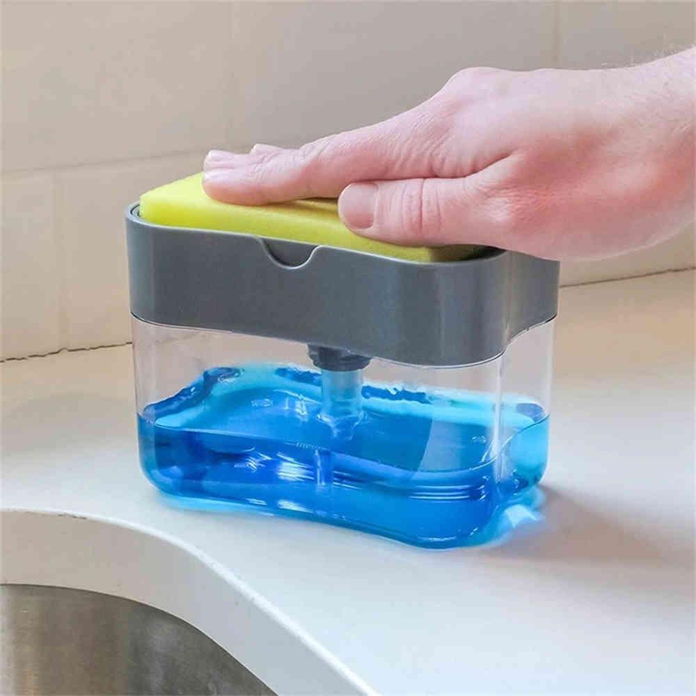 2-in-1 Soap Dispenser Sponge Caddy Non-toxic Odorless Dispenser Kitchen Rack Creative Bathroom Washing Soap Storage Box J50