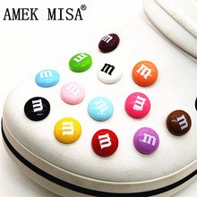 Simulation M Chocolate Beans Shoe Charms Decoration Realistic Rainbow Sugar Shoe Accessories fit croc jibz Kids Party X-mas Gift cheap AMEK MISA CN(Origin) Shoe Decorations J-MD14 Polyester