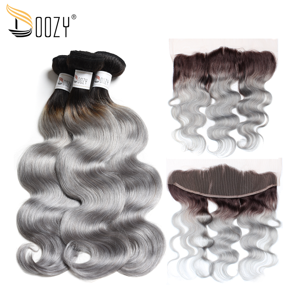 Doozy Ombre 1B/Grey Brazilian Hair Body Wave Silver Gray Remy Human Hair 3 Bundles With Lace Frontal