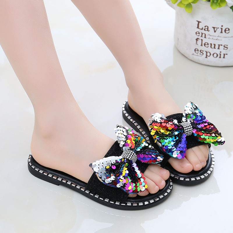 2020 Fashion New Summer Children Sequins Bow-knot Flip Flops Shoes Girls Shoes Rhinestone Princess Slipper Casual Shoes Sandals