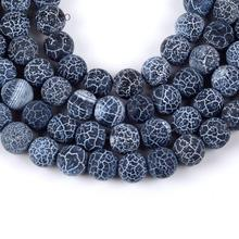 Natural Matte Frost Cracked Black Stone Round Loose Beads For Jewelry Making 4-12mm Spacer Fit Diy Bracelet Necklace 15''