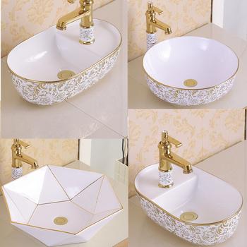 Ceramiczna umywalka nad kontuarem małe rozmiary złota umywalka umywalki łazienka okrągłe umywalki ceramiczna umywalka do łazienki miski szampon umywalki tanie i dobre opinie Nie hole Owalne Drainer+drain pipe YL200804C Blat umywalki Tłoczone 42x42 46x46 42x27 48x41 54x47