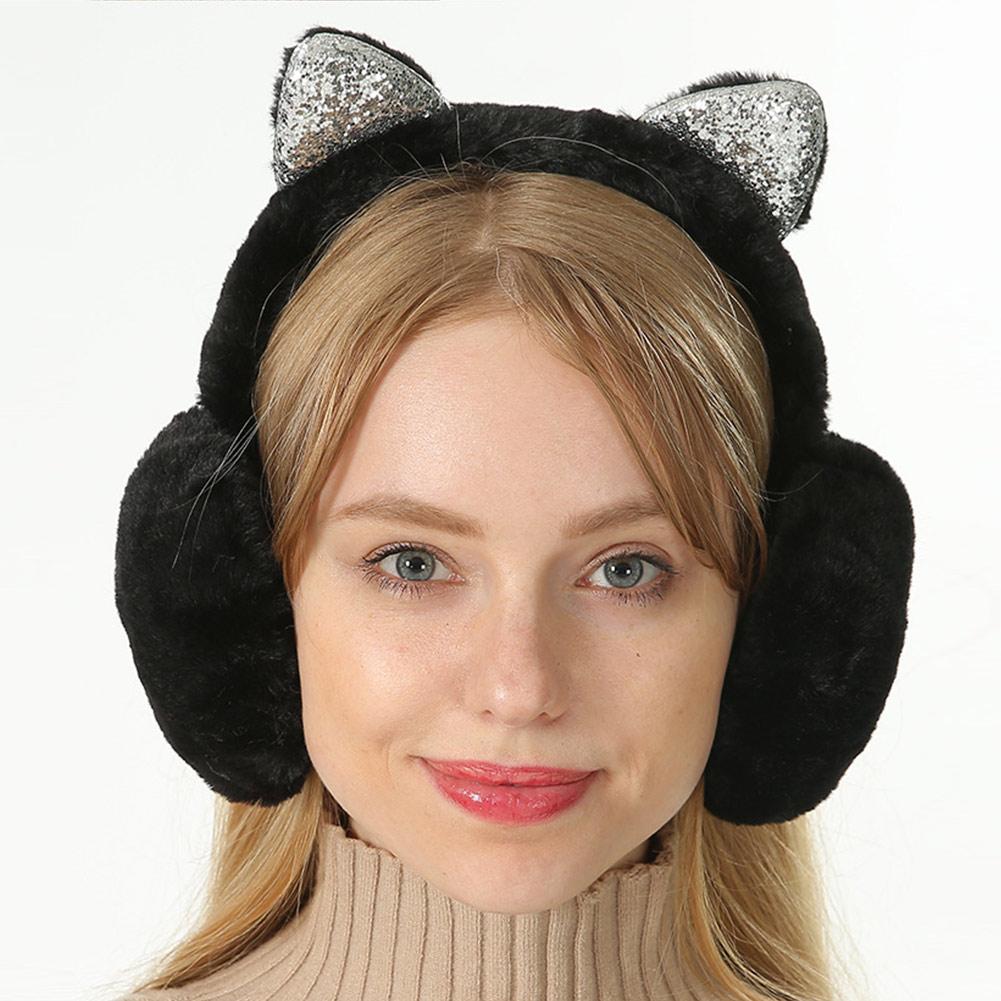 Women Earmuffs Cartoon Cat Ears Windproof Ears Warm Adjustable Earmuffs TT@88