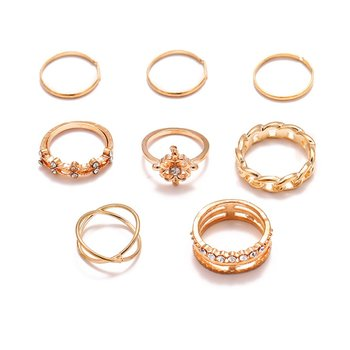 Women Bohemian Vintage Crown Wave Flower Heart Lotus Star Leaf Crystal Ring Party Jewelry Silver Rings Set Gifts image