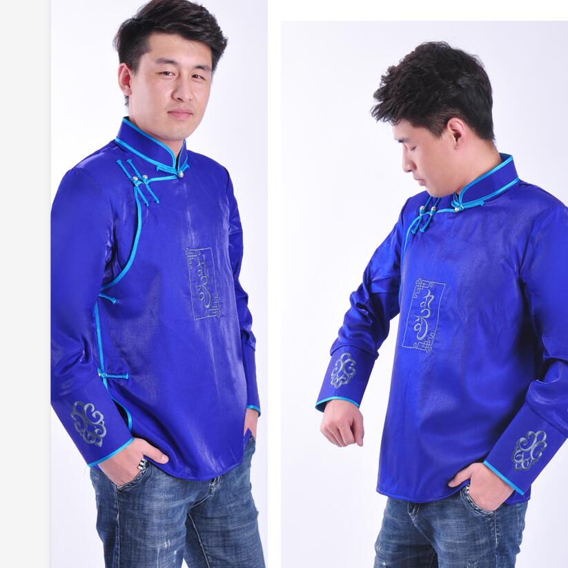 Traditional mongolian Clothing for Men Full Sleeve Tang Suit top oriental Clothing New Year Clothes Vintage Party Male Jacket