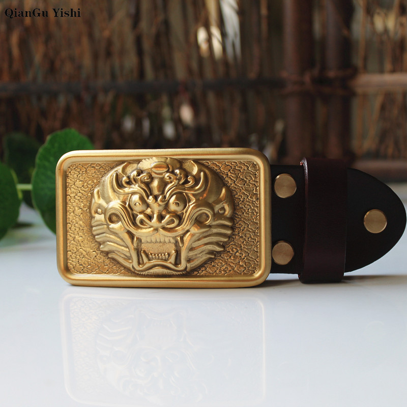 Wholesale Brand High Quality Solid Brass Brave Troops Belt Buckle Men Brass Smooth Buckles For Band Width 3.8cm Belt Accessories