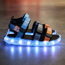 RISRICH Children sandals for baby infant toddler boy girl sneakers kids boys girls led usb glowing light up beach sandals shoes(China)
