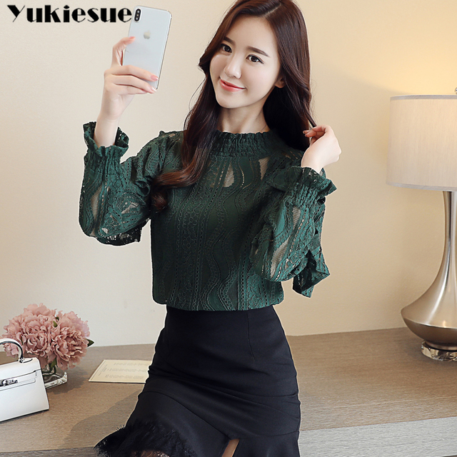 Spring Stand Collar Hollow Out Blouse Elegant ruffless Office Lady black Shirt  Women Long Sleeve Lace Tops Blusa Streetwear 3