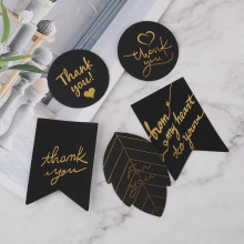 10pcs Gold Stamping Thank You Paper Gift Tags White Black Paper Hang Tag Label for Gift Box Party Birthday Decor(China)