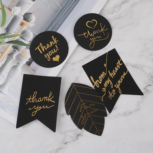 10pcs Gold Stamping Thank You Paper Gift Tags White Black Paper Hang Tag Label for Gift Box Party Birthday Decor