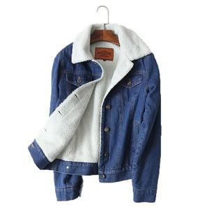 Image 1 - Spring Autumn Winter New 2019 Women lambswool jean Coat With 4 Pockets Long Sleeves Warm Jeans Coat Outwear Wide Denim Jacket