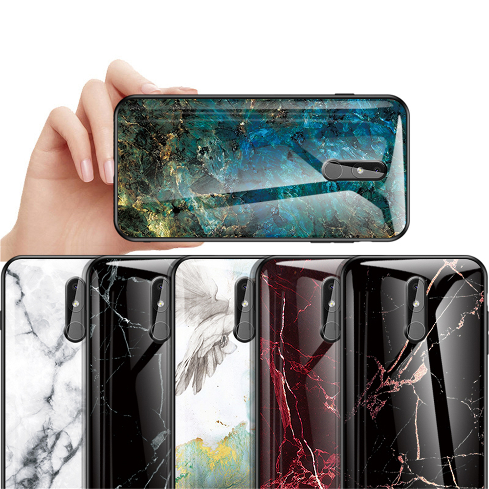 Marble Tempered Glass Phone <font><b>Case</b></font> for <font><b>Nokia</b></font> 1 7 8 9 3.1 6.1 <font><b>7.1</b></font> 8.1 3.2 4.2 Plus Slim Shell Glossy Full Protective Back Cover image
