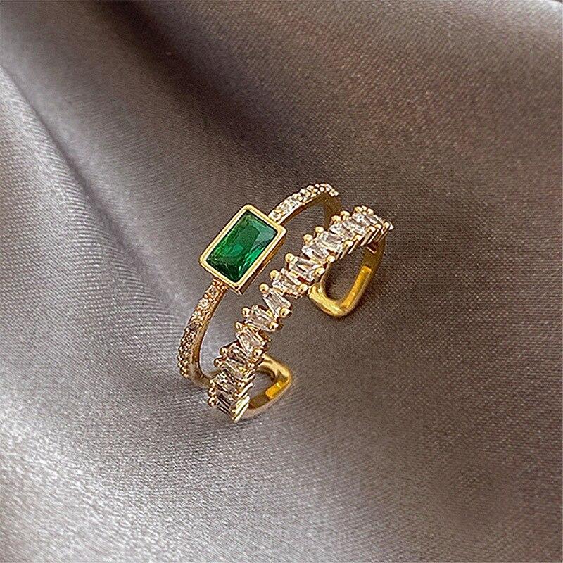 2020 Korea's New Retro Green Double-layer Ring Fashion Simple Versatile Open Ring Elegant Ladies' Jewelry