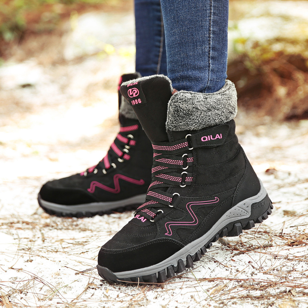 Women's Snow Boots Winter Short Boot 2019 Lady Outdoor Climbing Hiking Ankle Shoes Warm Fur Strappy Sneakers Botas Waterproof