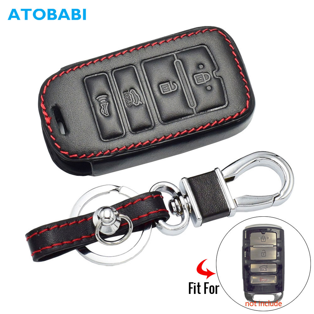 Leather Car Key Case For <font><b>Kia</b></font> <font><b>Sorento</b></font> K900 New K7 Cadenza 2017 <font><b>2018</b></font> 2019 4 Buttons Smart Remote Fob Protector Cover Accessories image