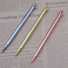 Pen Metal Fashion Crown Black ink Ballpoint pen Writing Stationery School Office Supplies Girl Gift unique black ink resin ballpoint pen classic design luxury pen gold silver clip office school writing stationery supplies gifts